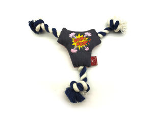 Picture of HappyPuppy Denim Squeaky Toy with Ropes